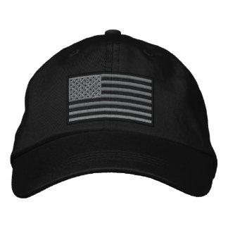 Boné Bordado Chapéu bordado bandeira Subdued dos E.U. (preto)