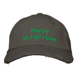 Boné Bordado Chapéu bordado verde do dia da pancadinha feliz do
