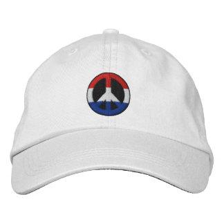 Boné Bordado Chapéu branco e azul bordado vermelho