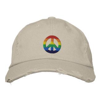 Boné Bordado Chapéu do sinal de paz do arco-íris GLBT