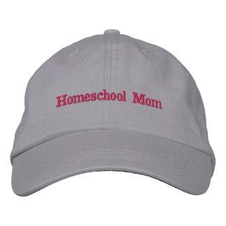 Boné Bordado Cinzas e rosa da mamã de Homeschool