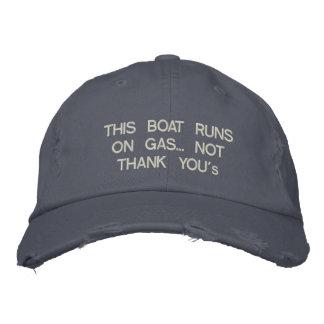 """Boné Bordado Este barco funciona no gás… Não """"obrigado You"""