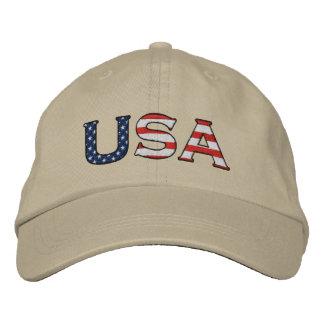 Boné Bordado Estrelas & chapéu bordados EUA das listras (Khaki)