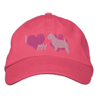Boné Bordado Eu amo meu chapéu bordado de Norwich Terrier (o