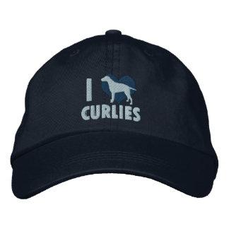 Boné Bordado Eu amo o chapéu bordado Curlies (azul)