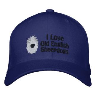 Boné Bordado Eu amo Sheepdogs ingleses velhos o chapéu bordado