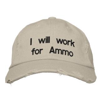 Boné Bordado Eu trabalharei para a munição