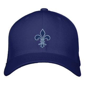 Boné Bordado Flor de lis azul chapéu bordado
