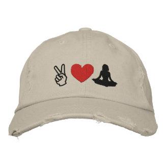 Boné bordado ioga do amor da paz