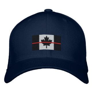 Boné Bordado Linha vermelha fina na bandeira canadense