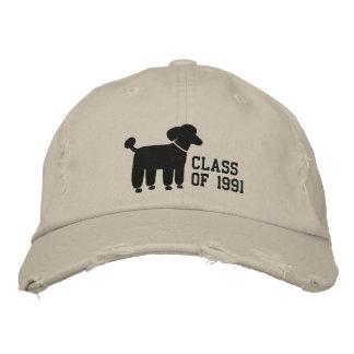 Boné Bordado Logotipo preto do cão de caniche com texto & cor