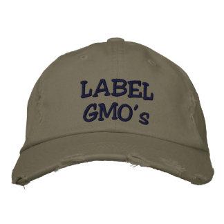 Boné Bordado O chapéu afligido Embroadered de GMO da etiqueta