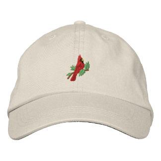 Boné Bordado O chapéu pássaro cardinal vermelho das mulheres