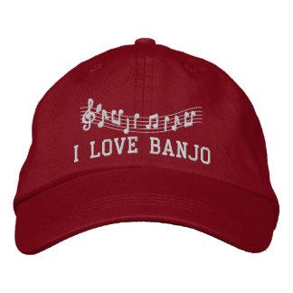 Boné Bordado O vermelho bordou o chapéu do banjo do amor de I