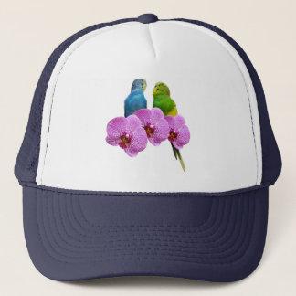 Boné Budgie com orquídea roxa