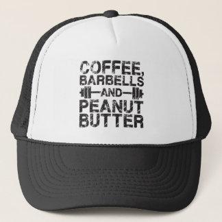 Boné Café, Barbells e manteiga de amendoim - exercício