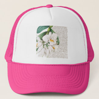 Boné Caligrafia branca das orquídeas