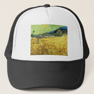 Boné Campos de trigo com a ceifeira no nascer do sol -