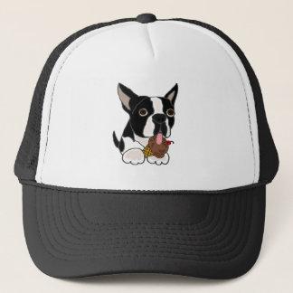 Boné Cão de Boston Terrier que come o sorvete
