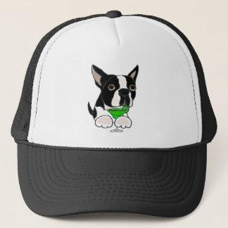 Boné Cão engraçado de Boston Terrier que bebe Margarita