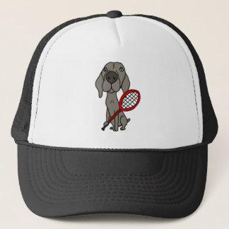 Boné Cão engraçado de Weimaraner que joga o tênis