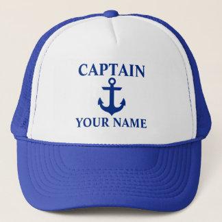 Boné Capitão náutico Nome Âncora Azul