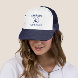 Boné Capitão náutico Nome Âncora Corda Azul