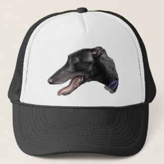 """Boné """"Chapéu da arte do cão do galgo preto"""""""