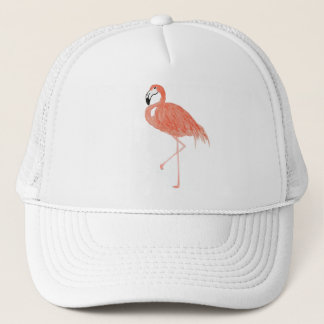 Boné Chapéu do camionista da aguarela do flamingo