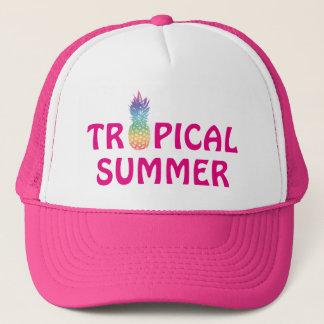 Boné Chapéu do camionista da menina tropical do rosa do
