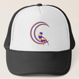 Boné Chapéu do camionista do duende da lua do arco-íris