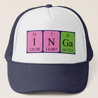 Boné Chapéu do nome da mesa periódica de Inga