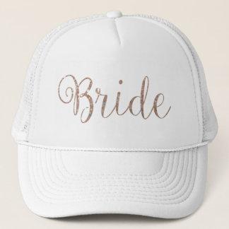 Boné Chapéu - noiva cor-de-rosa do brilho do ouro