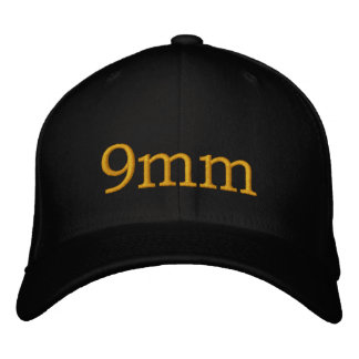 Boné chapéu preto do texto do ouro de 9mm