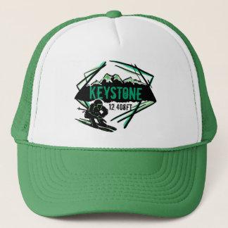 Boné Chapéu trapezóide do verde da elevação do esqui de