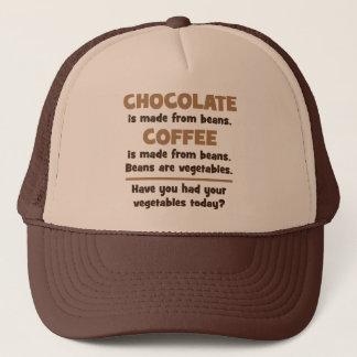 Boné Chocolate, café, feijões, vegetais - novidade