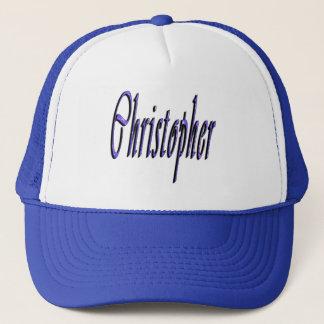 Boné Christopher azul, nome, logotipo,