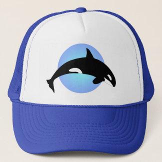 Boné Círculo do azul da silhueta da baleia de assassino