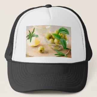 Boné Copo de vidro com azeitonas pitted verde