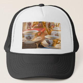 Boné Copos de café retros da porcelana com café quente