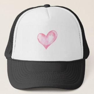 Boné Coração cor-de-rosa da aguarela, presente dos