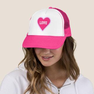 Boné Coração do rosa quente do dia dos namorados