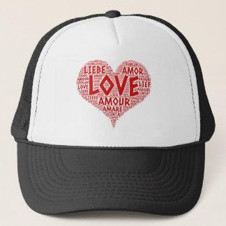 Boné Coração ilustrado com palavra do amor