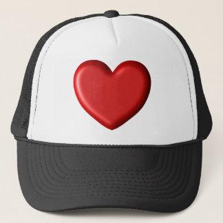Boné Coração inchado romântico 3D do amor vermelho do