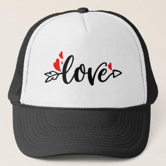 Boné Corações Amor-Modernos do vermelho da tipografia