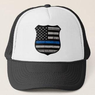Boné Crachá Blue Line da polícia