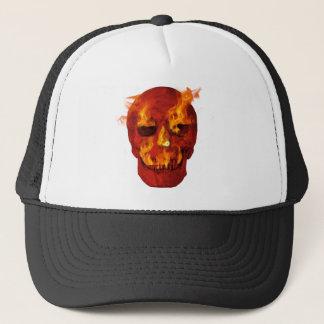 Boné Crânio flamejante vermelho