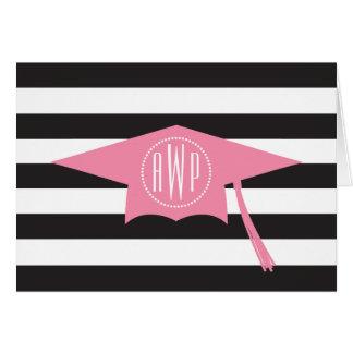 Boné de formatura cor-de-rosa do monograma + cartão de nota