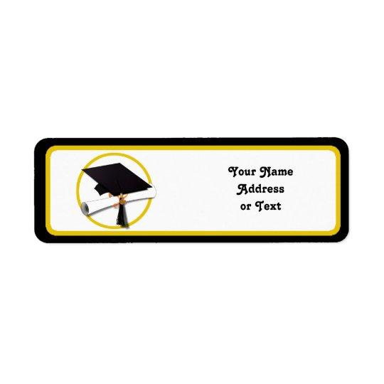 Boné de formatura & diploma etiqueta endereço de retorno