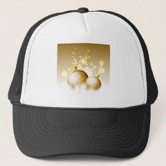 Boné Decoração marrom dourada do ano novo com neve